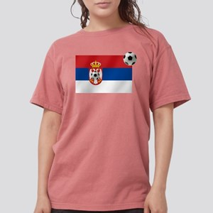 Serbia Football Flag Womens Comfort Colors Shirt