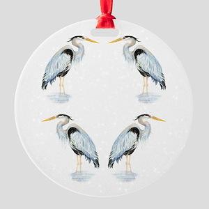 Watercolor Great Blue Heron Bird Round Ornament