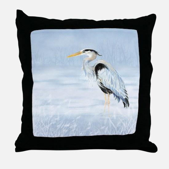 Watercolor Great Blue Heron Bird Throw Pillow
