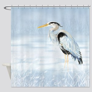 Watercolor Great Blue Heron Bird Shower Curtain