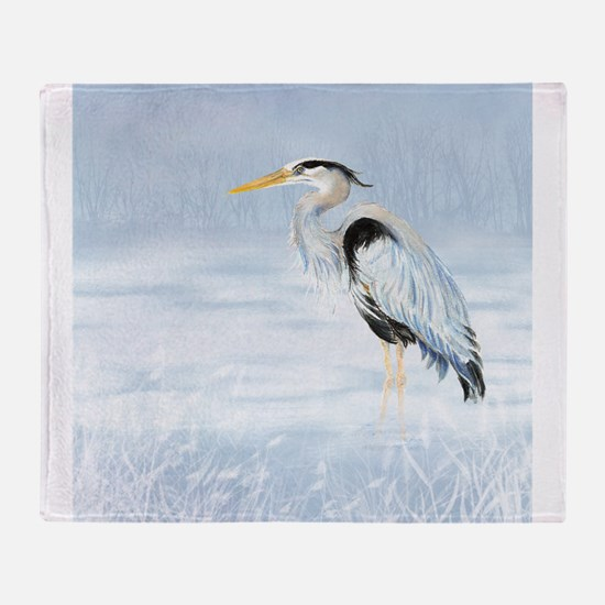 Watercolor Great Blue Heron Bird Throw Blanket