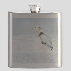 Watercolor Great Blue Heron Bird Flask