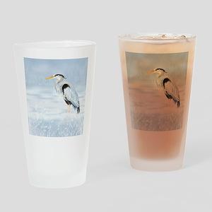 Watercolor Great Blue Heron Bird Drinking Glass