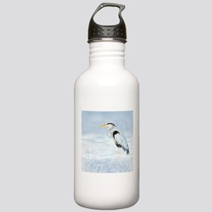 Watercolor Great Blue Heron Bird Water Bottle