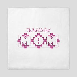 World's Best Mom - Heart Petals Queen Duvet