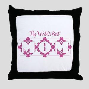 World's Best Mom - Heart Petals Throw Pillow