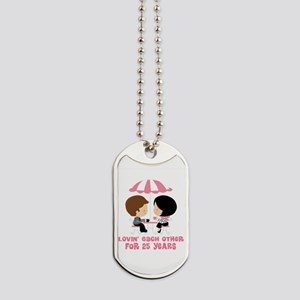 25th Anniversary Couple in Paris Dog Tags