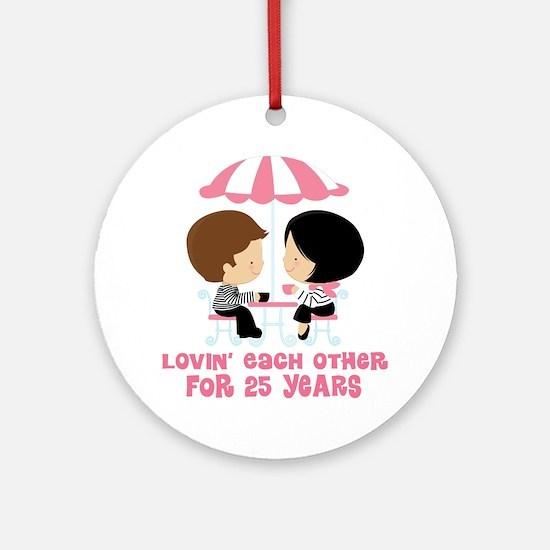 25th Anniversary Couple in Paris Ornament (Round)