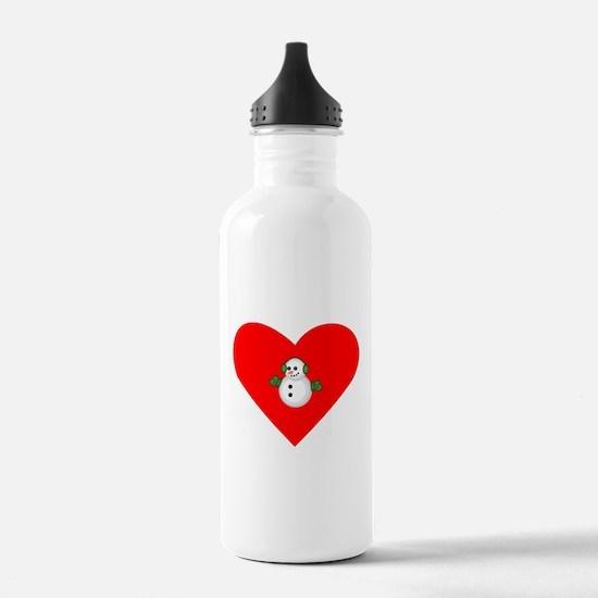 Christmas Snowman Heart Sports Water Bottle