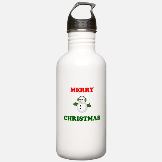Merry Christmas Snowman Sports Water Bottle