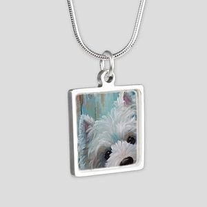 Drip Silver Square Necklace