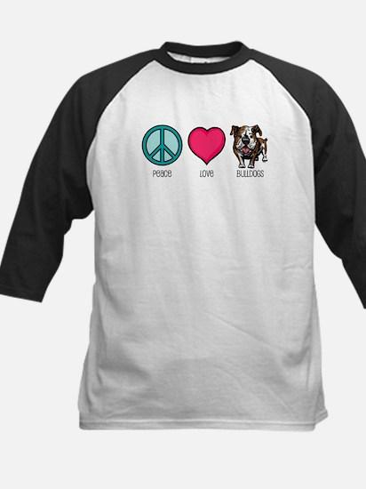 Peace Love & Bulldogs Kids Baseball Jersey