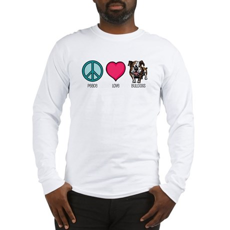 Peace Love & Bulldogs Long Sleeve T-Shirt