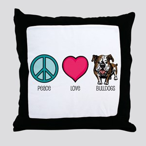 Peace Love & Bulldogs Throw Pillow