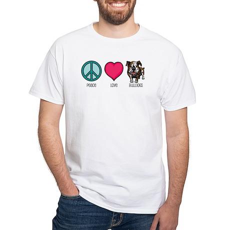 Peace Love & Bulldogs White T-Shirt
