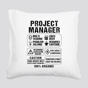 Project Manager Square Canvas Pillow