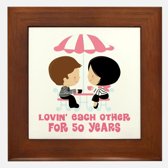 50th Anniversary Paris Couple Framed Tile
