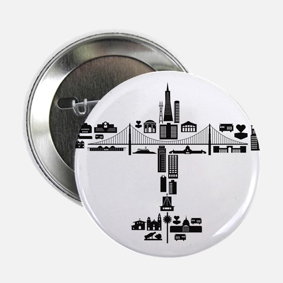 "Airplane of SF Landmarks 2.25"" Button"