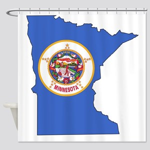 Minnesota Outline Map and Flag Shower Curtain