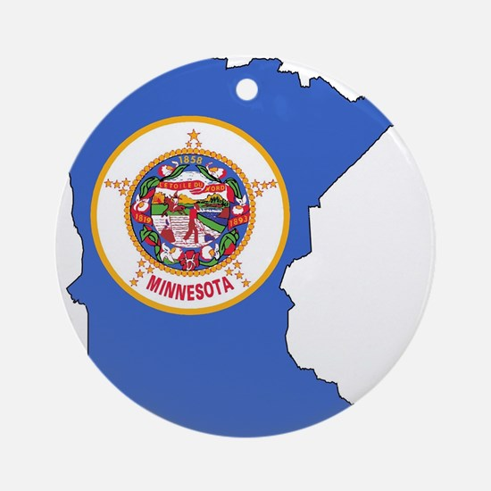 Minnesota Outline Map and Flag Round Ornament