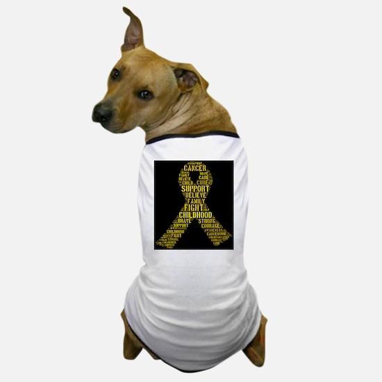 Childhood Cancer Word Shape Dog T-Shirt