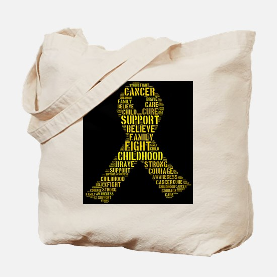 Childhood Cancer Word Shape Tote Bag