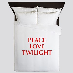 PEACE-LOVE-TWILIGHT-OPT-RED Queen Duvet