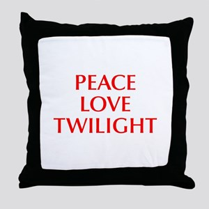 PEACE-LOVE-TWILIGHT-OPT-RED Throw Pillow