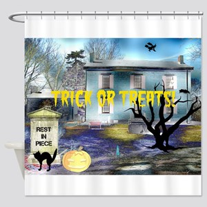 Trick or Treats Spooky House Shower Curtain