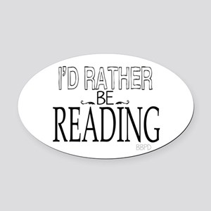 Rather Be Reading Oval Car Magnet