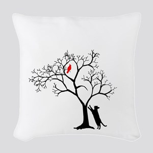 Red Cardinal in Tree with Cat Woven Throw Pillow