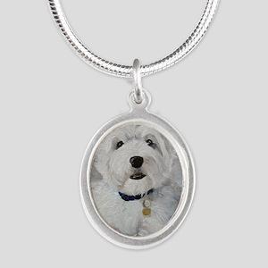 Little Slugger Silver Oval Necklace