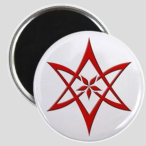Red Curved Unicursal Hexagram Magnet