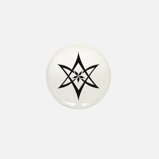 Black Curved Unicursal Hexagram Mini Button