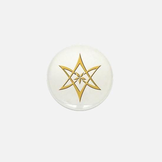 Gold Curved Unicursal Hexagram Mini Button