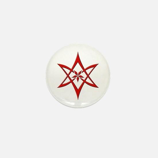 Red Curved Unicursal Hexagram Mini Button