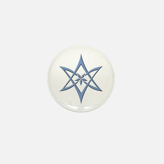 Blue Curved Unicursal Hexagram Mini Button