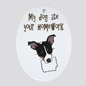 dog ate your homework Oval Ornament