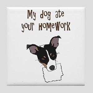 dog ate your homework Tile Coaster