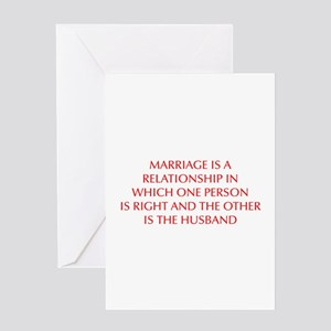 marriage-is-a-relationship-OPT-RED Greeting Card