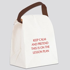 KEEP-CALM-LESSON-PLAN-OPT-RED Canvas Lunch Bag