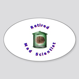 Retired Mad Scientist Oval Sticker