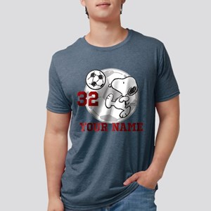 Snoopy Soccer Personalized Mens Tri-blend T-Shirt