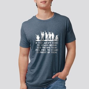 Stand Behind Troops White Mens Tri-blend T-Shirt