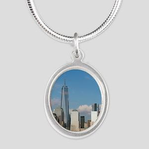New! New York City USA - Pro Silver Oval Necklace