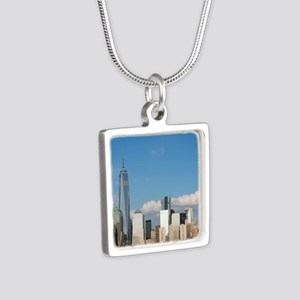 New! New York City USA - P Silver Square Necklace