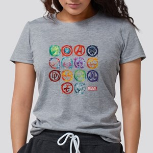 Marvel All Splatter Icons Womens Tri-blend T-Shirt
