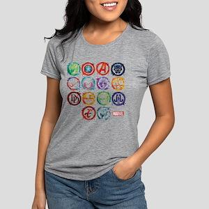 Marvel All Splatter Icons Womens Tri-blend T-Shirt