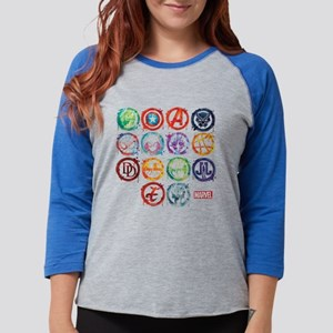 Marvel All Splatter Icons Womens Baseball Tee