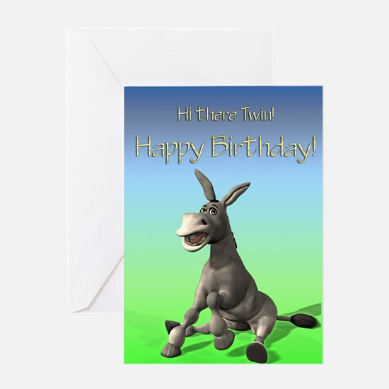 Funny twin birthday greeting cards cafepress twin cute ass birthday card greeting card bookmarktalkfo Images